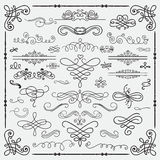 Vector Black Vintage Hand Drawn Swirls Collection Royalty Free Stock Photo