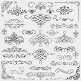 Vector Black Vintage Hand Drawn Swirls Collection. Set of Hand Drawn Black Doodle Design Elements. Decorative Swirls, Scrolls, Text Frames, Dividers. Vintage Stock Photography