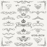 Vector Black Vintage Hand Drawn Swirls and Crowns Royalty Free Stock Photos