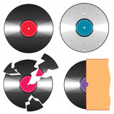 Vector black vinyl records Royalty Free Stock Images