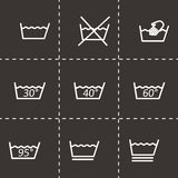 Vector black washing signs icon set Stock Photography