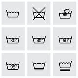 Vector black washing signs icon set Royalty Free Stock Photo