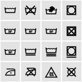 Vector black washing signs  set Royalty Free Stock Photography