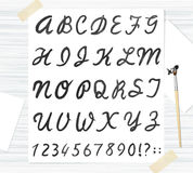 Vector black watercolor font, handwritten letters. ABC Royalty Free Stock Image