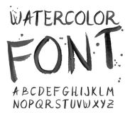 Vector black watercolor font, handwritten letters. ABC Stock Image
