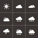 Vector black weather icon set Stock Photos
