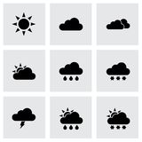 Vector black weather icon set Royalty Free Stock Image