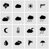 Vector black weather icon set Stock Photo