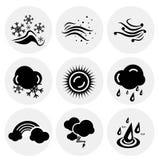 Vector black weather icons Stock Photo