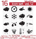 Vector black weather icons Royalty Free Stock Photography