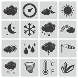 Vector black  weather icons Royalty Free Stock Images