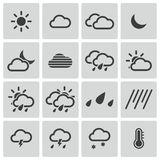Vector black  weather   icons Stock Photos
