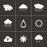 Vector black weather icons set Stock Image
