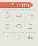 Vector black weather icons set Royalty Free Stock Image