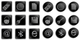 Vector black web buttons set t Royalty Free Stock Images