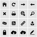 Vector black web icon set. On grey background Royalty Free Stock Images