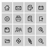 Vector black web icons set on gray Royalty Free Stock Images