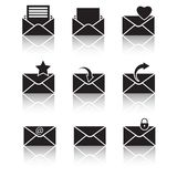 Vector black web icons set on gray Royalty Free Stock Image