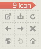 Vector black web icons set. On grey background Royalty Free Stock Photo