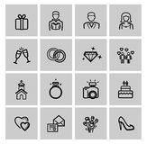 Vector black wedding icons set Royalty Free Stock Images