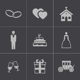 Vector black wedding icons set Royalty Free Stock Image
