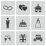 Vector black wedding icons set Royalty Free Stock Photos