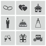 Vector black wedding icons set Royalty Free Stock Photos