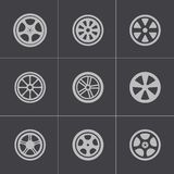 Vector black wheel disks icons set Stock Photography
