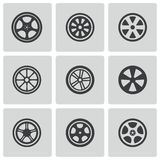 Vector black wheel disks icons set Royalty Free Stock Photos
