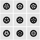 Vector black wheel icon set Stock Photo