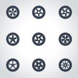 Vector black wheel icon set Stock Image