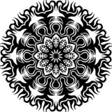 Vector Black and white abstract circular sun flame and flower mandala pattern. stock illustration