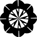 Vector Black and white abstract geometrical geometrical  floral mandala pattern for button and brooch etc. royalty free illustration