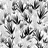 Vector Black and White Asian bamboo Kimono Seamless Pattern Background. Great for elegant gray texture fabric, cards Royalty Free Stock Photography