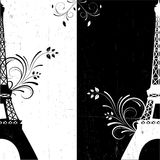 Vector black-white background. Vector illustration of black-white eiffel tower grunge Stock Photos