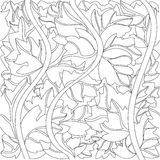 Vector black and white background of ivy leaves Royalty Free Stock Photos