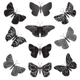 Vector black and white butterflies Royalty Free Stock Photography
