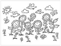 Vector black and white cartoon sunflowers, birds and bees illustration. Suitable for greeting cards or colouring stock illustration