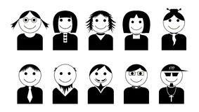 Vector black-white characters icons set. Simple avatar icons set. Royalty Free Stock Images