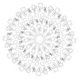 Vector black and white round easter spring mandala with flowers and eggs - adult coloring book page - tulip, daffodil and Stock Photos