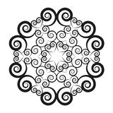 Vector black and white round mandala with spirals and hearts - star in the middle - adult coloring book page. Vector black and white circular round mandala with stock illustration