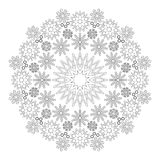 Vector black and white circular winter mandala with snowflakes Stock Photography