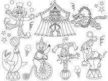 Vector Black and White Circus Set with Clown, Big Top and Circus Animals. Vector black and white circus set. Set includes bog top, clown, tiger, seal, monkey Stock Photos
