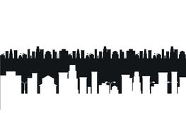 Vector black and white cities silhouette Stock Photo