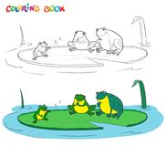 Vector black and white coloring book of a frogs family. Stock Photos