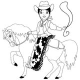 Vector Black and White Cowboy, Wild West Stock Images