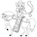 Vector Black and White Cowgirl, Cowboy, Wild West stock illustration