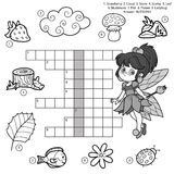 Vector black and white crossword for children about nature Royalty Free Stock Photo