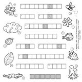 Vector black and white crossword for children about nature Stock Photo