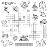 Vector black and white crossword for children about nature Royalty Free Stock Photos